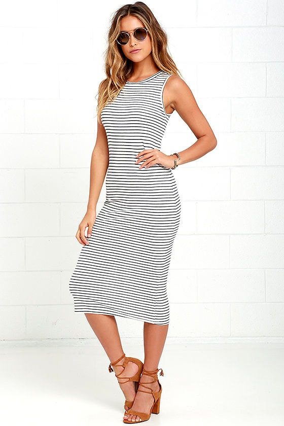 Navy white striped midi dress