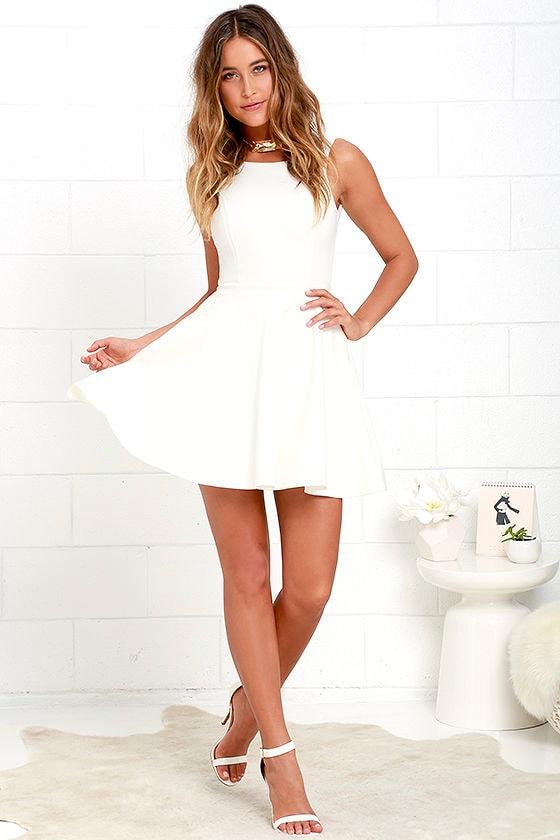 97693369768331 Cute Ivory Skater Dress - White Homecoming Dress $44.00