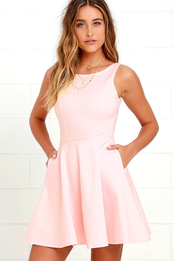 Lovely Blush Pink Dress - Skater Dress - Fit-and-Flare Dress -  44.00 906f0568b