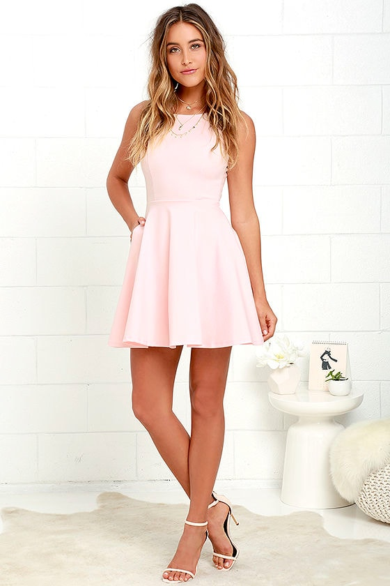 f4c5ad773e1d Lovely Blush Pink Dress - Skater Dress - Fit-and-Flare Dress - $44.00