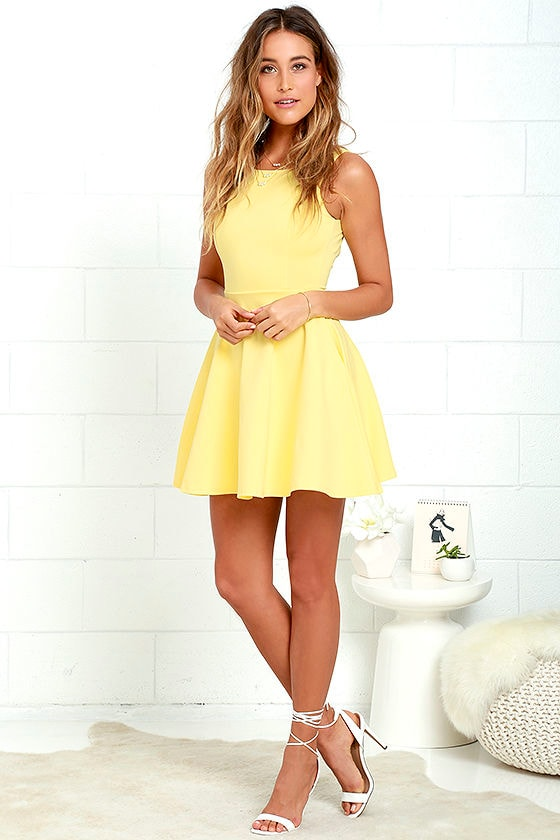 Lovely Yellow Dress - Skater Dress - Fit-and-Flare Dress -  44.00 00a8f671b
