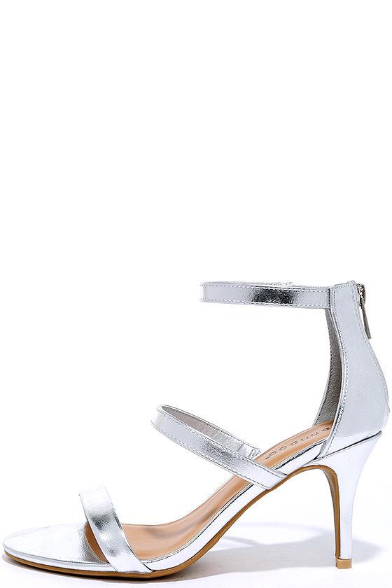 7b197616977 Cute Silver Heels - Dress Sandals - Kitten Heels -  28.00