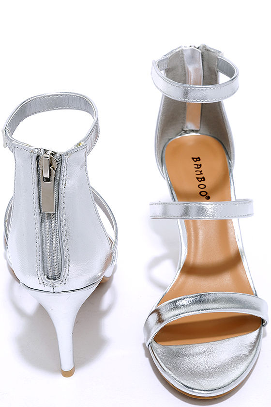 686ad2ef3c6 Cute Silver Heels - Dress Sandals - Kitten Heels -  28.00