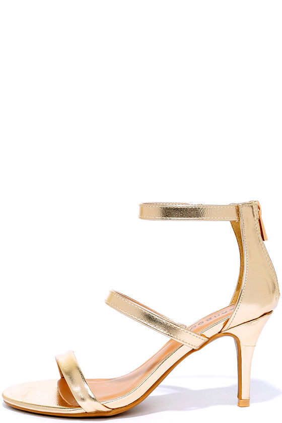 Cute Gold Heels - Dress Sandals - Kitten Heels - $28.00