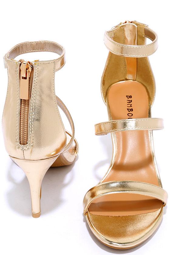 dbbbbbb58a Cute Gold Heels - Dress Sandals - Kitten Heels - $28.00