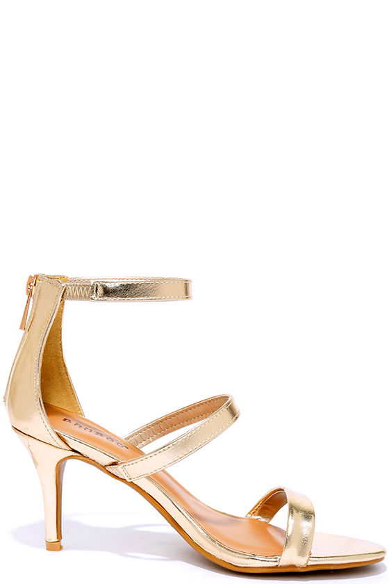 Cute Gold Heels - Dress Sandals - Kitten Heels - $28.00
