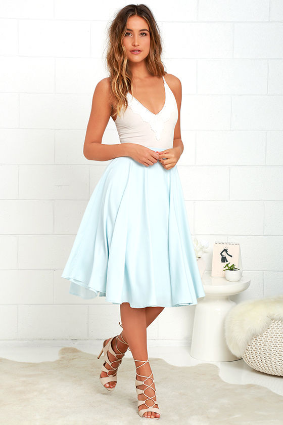 Lovely Light Blue Skirt - High-Waisted Skirt - Midi Skirt - $45.00