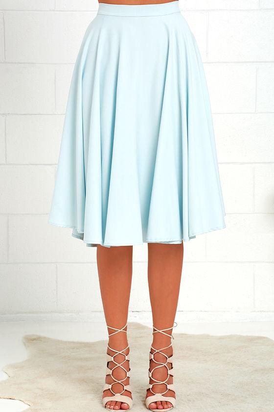 Lovely Light Blue Skirt - High-Waisted Skirt - Midi Skirt - $45.00