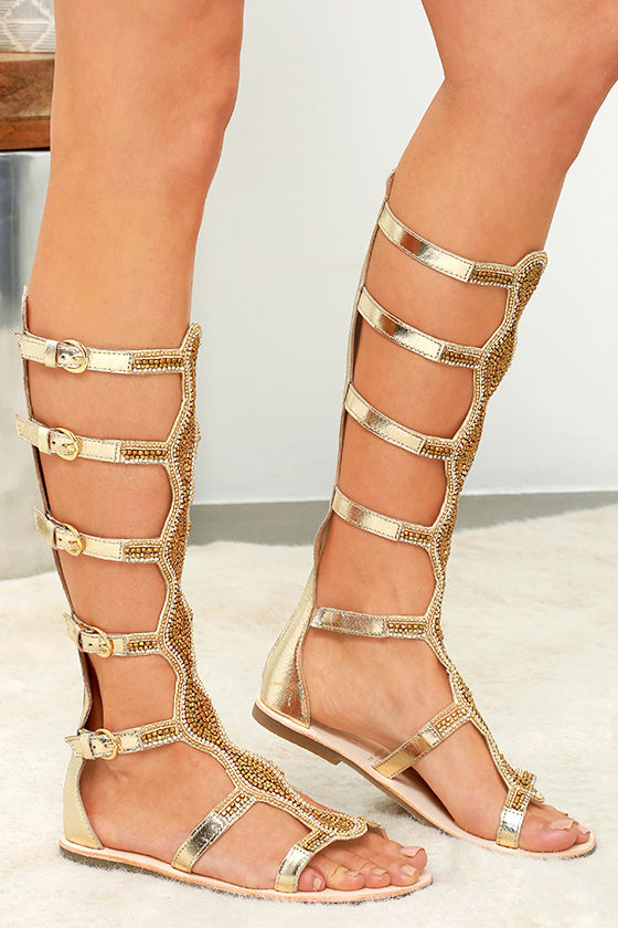 Cute Gold Sandals - Gladiator Sandals - Beaded Sandals - $159.00