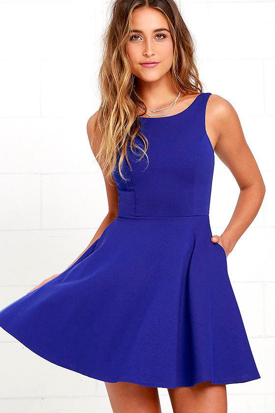 - Cute Blue Skater Dress - Blue Homecoming Dress - $44.00