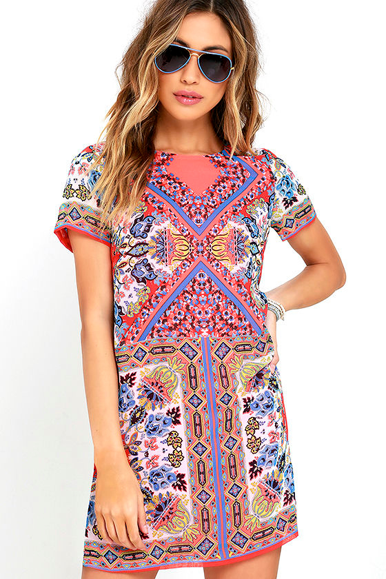 Sangria Coral Pink Tile Print Shift Dress 1