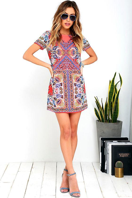 Pretty Coral Pink Dress - Tile Print Dress - Shift Dress - $48.00