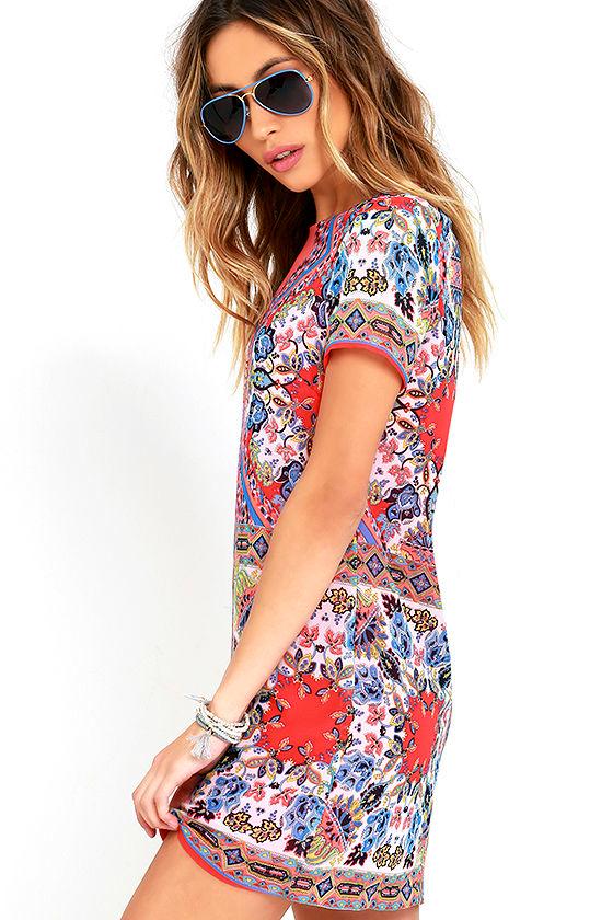 Sangria Coral Pink Tile Print Shift Dress 3