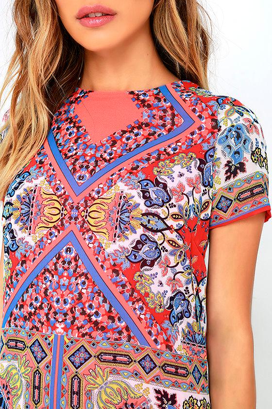 Sangria Coral Pink Tile Print Shift Dress 5