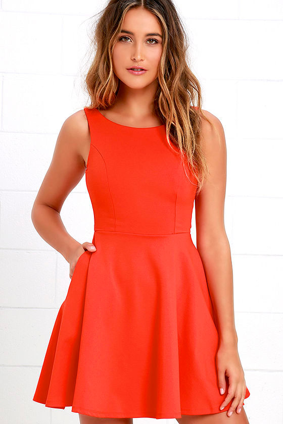 Lovely Orange Dress Skater Dress Fit And Flare Dress