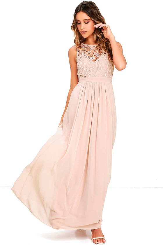 Lovely Blush Dress - Lace Dress - Maxi Dress - Backless Dress - $68.00