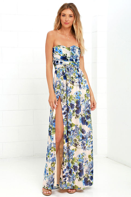 Lovely Floral Print Dress Blue Floral Print Dress Maxi Dress