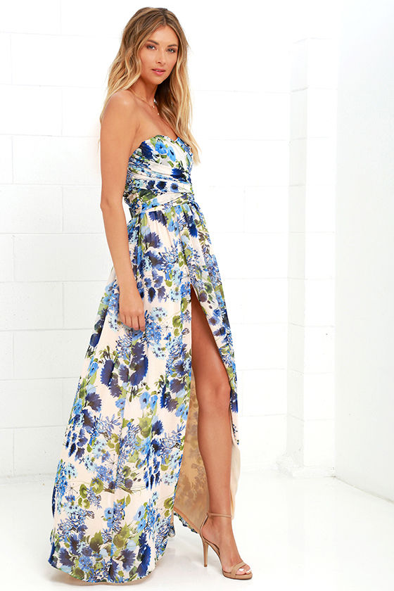 Lovely Floral Print Dress - Blue Floral Print Dress - Maxi Dress ...