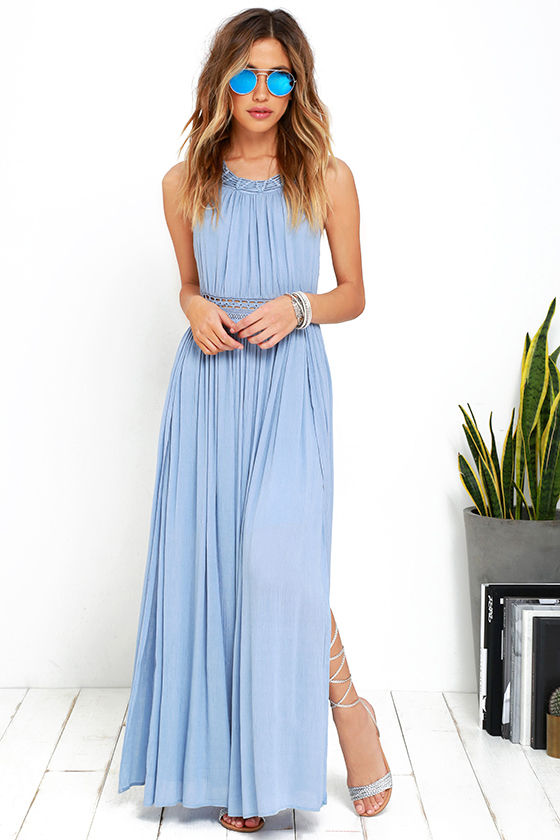 Gorgeous Light Blue Dress - Maxi Dress - Lace Dress - $59.00