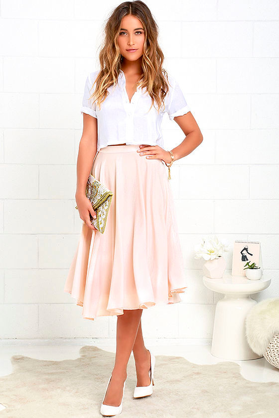 Lovely Blush Pink Skirt - High-Waisted Skirt - Midi Skirt - $45.00
