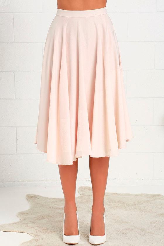 lovely blush pink skirt high waisted skirt midi skirt