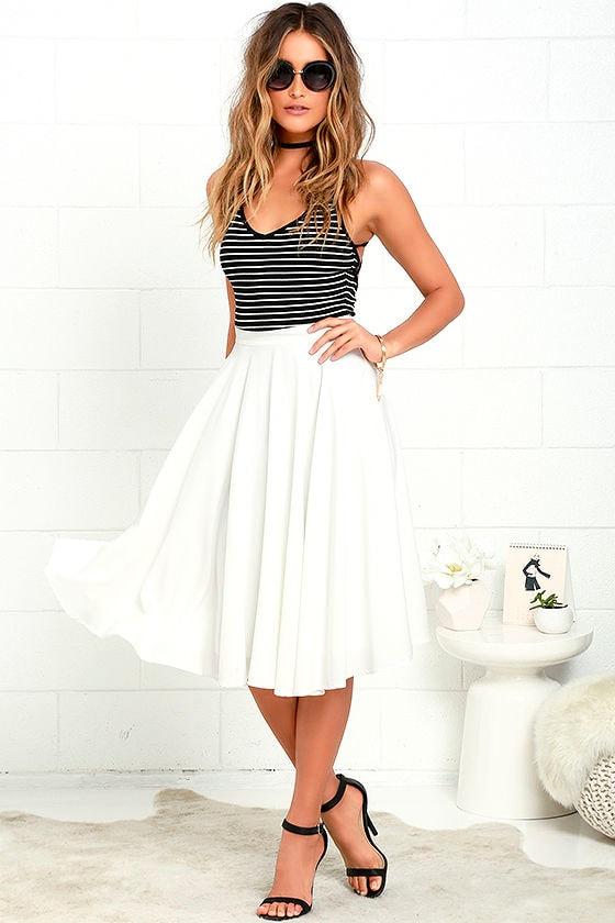 Lovely Ivory Skirt - High-Waisted Skirt - Midi Skirt - $45.00
