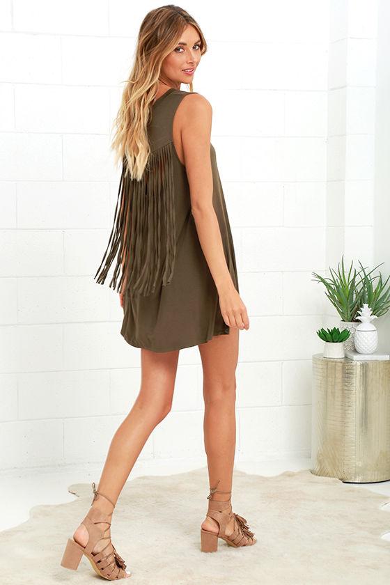 d8807055145 Cute Olive Green Dress - Swing Dress - Fringe Dress -  48.00