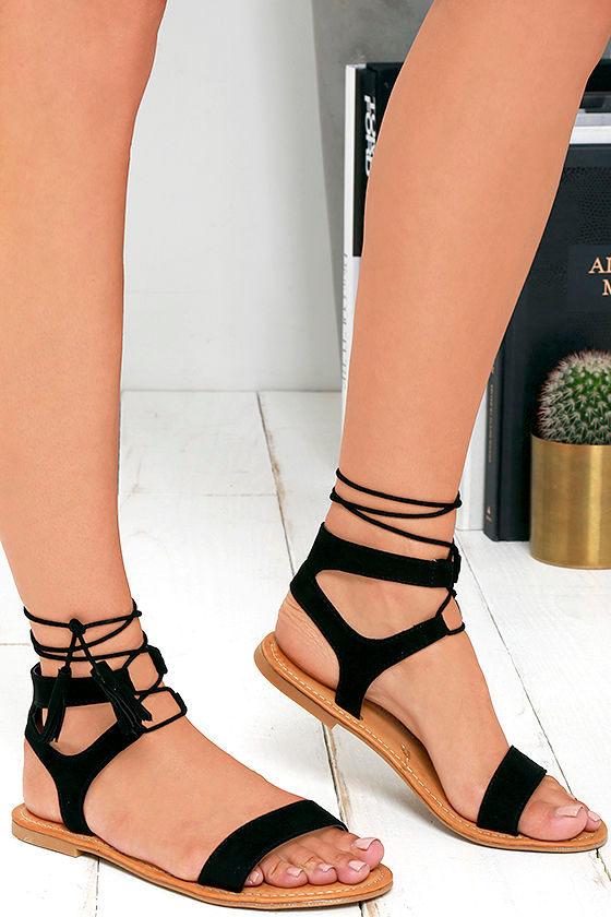 Cute Black Sandals Lace Up Sandals Flat Sandals 21 00
