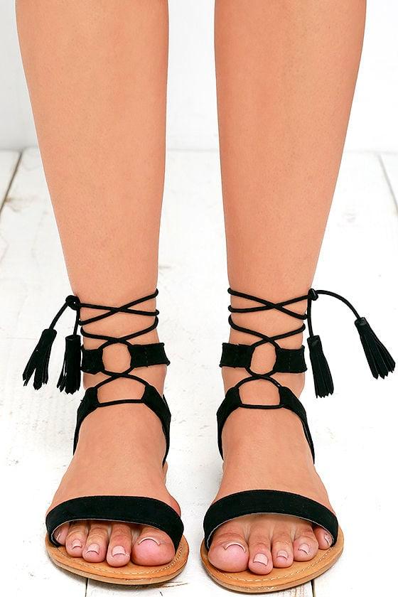 Street Fair Black Suede Lace-Up Sandals 2