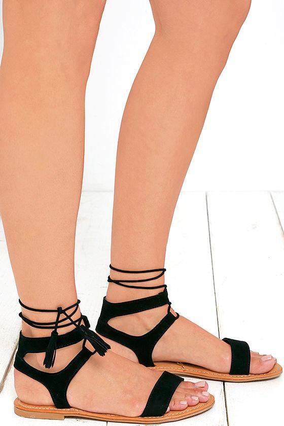Street Fair Black Suede Lace-Up Sandals 3