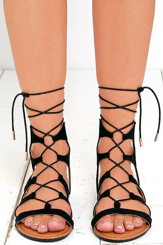 c4ce92c5b0b6c Cute Black Sandals - Lace-Up Sandals - Flat Sandals - $23.00
