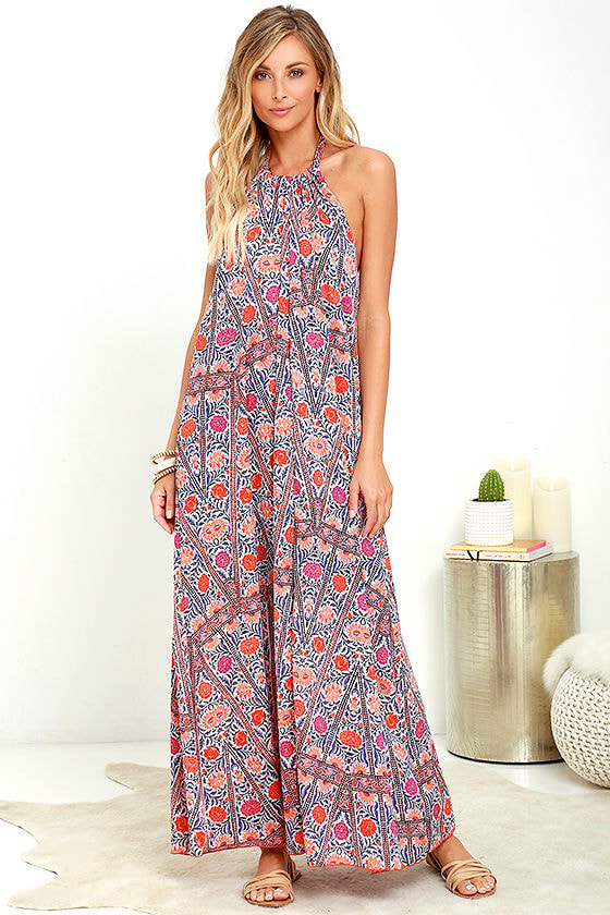 7a91d79e5b1f Pretty Orange Print Dress - Maxi Dress - Halter Dress - Backless Dress -  $89.00