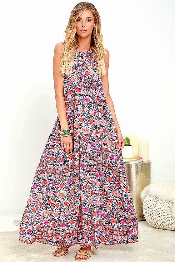 Pretty Orange Print Dress - Maxi Dress - Halter Dress - Backless ...