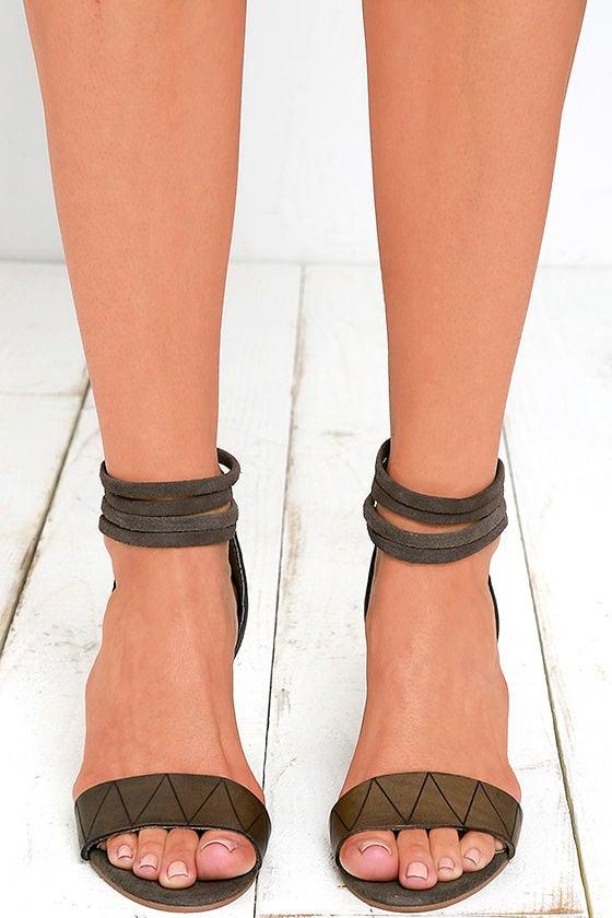 7c3df17fcf Cute Grey Heels - Leather Heels - Block Heels -  110.00