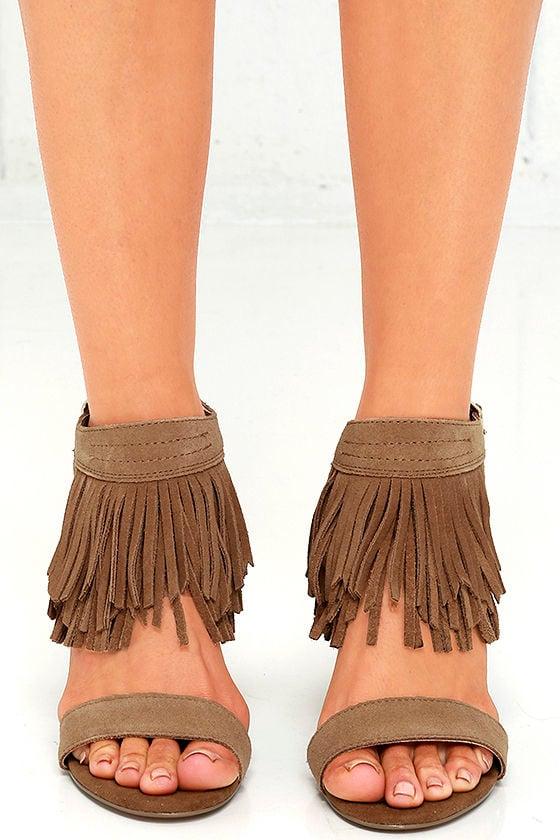 187866ca6 Restricted Kissy Heels - Suede Leather Heels - Fringe Heels -  65.00