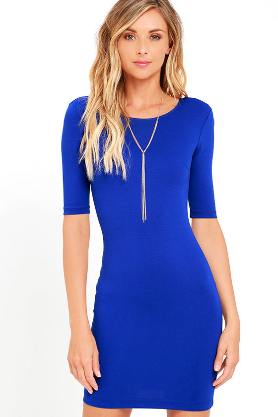 Bodycon Dress - Royal Blue Dress - Short Sleeve Dress - $42.00