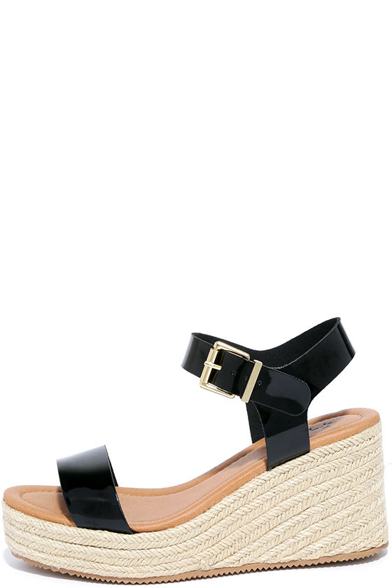 68f843a11ac Vacay Glam Black Patent Espadrille Wedges