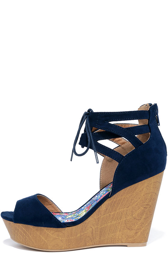 for whole family variety styles of 2019 buy cheap Fun-Seeker Navy Blue Suede Platform Wedges