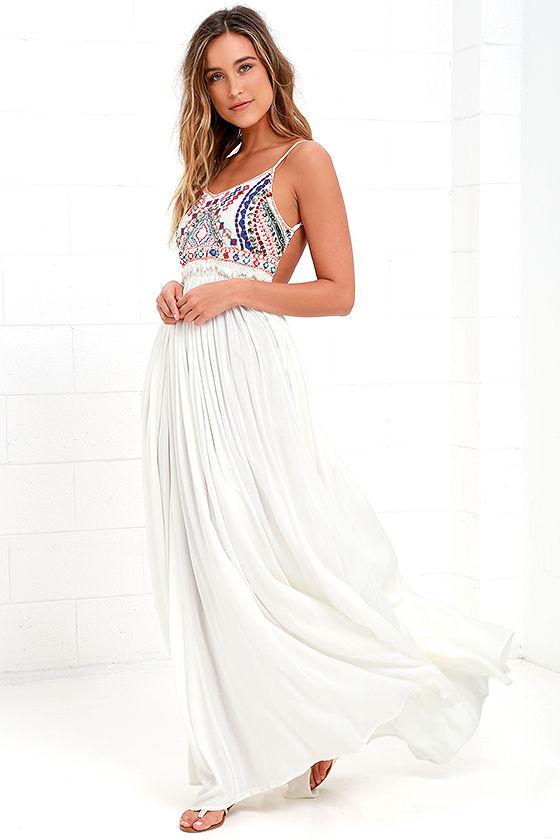 d660ee07b81 Pretty Ivory Dress - Maxi Dress - Embroidered Maxi -  155.00