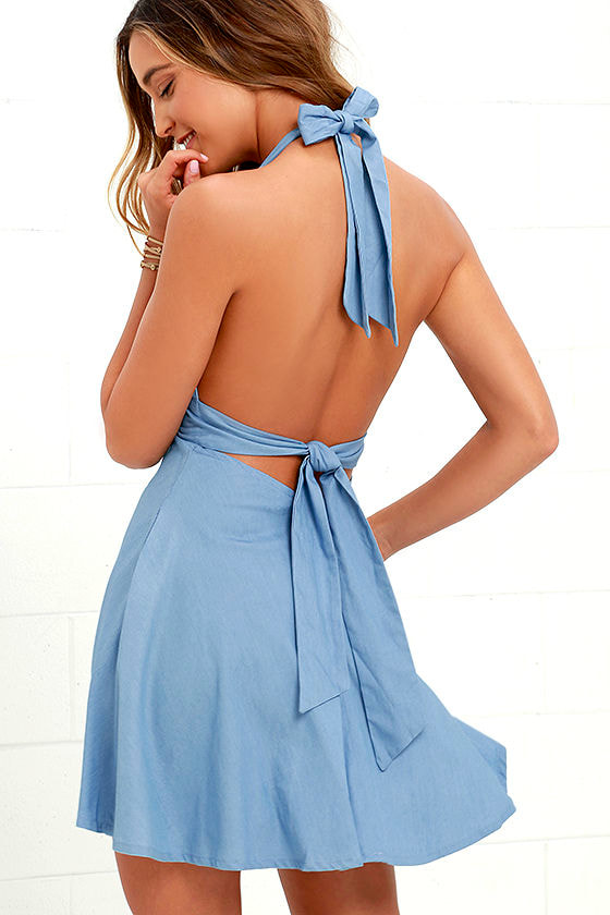 I'm Smitten Blue Chambray Halter Dress 1