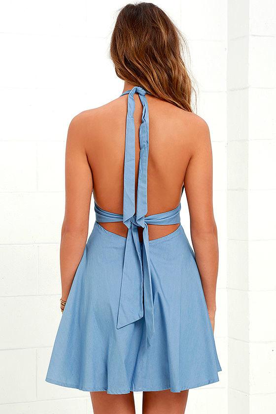 I'm Smitten Blue Chambray Halter Dress 5