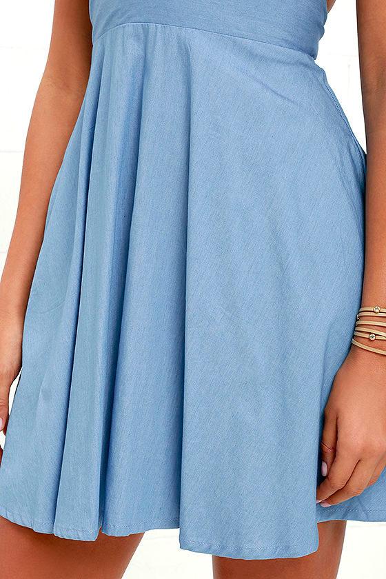 I'm Smitten Blue Chambray Halter Dress 6