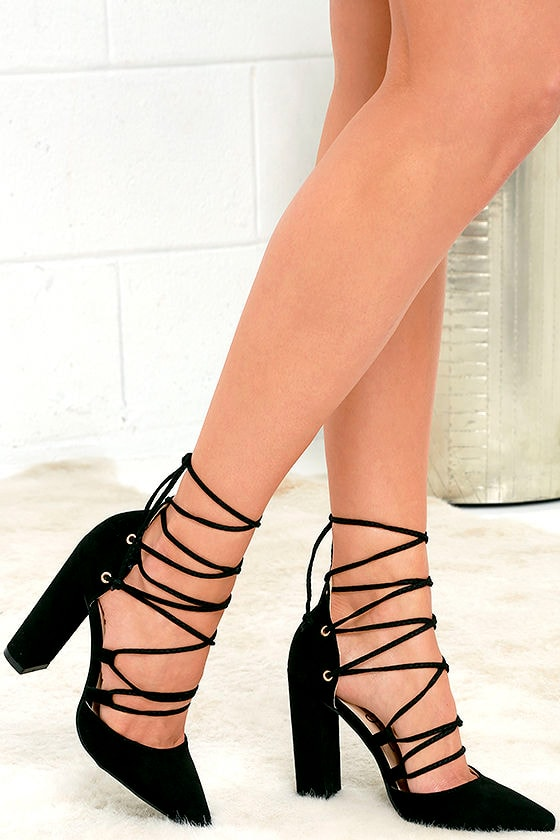 Chic Black Suede Heels - Lace-Up Heels - Pointed Pumps - $39.00