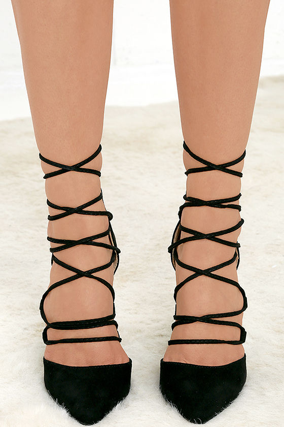 Your Girl Black Suede Lace-Up Heels 3