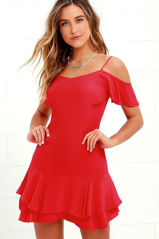 Cute Red Dress - Mini Dress - Off-the-Shoulder Dress - $49.00