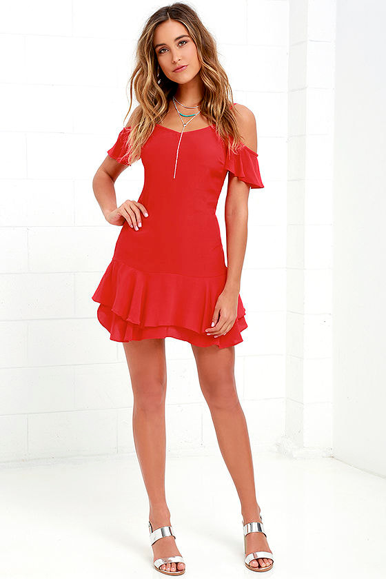 163709cbe2b Ruffled Up Red Mini Dress