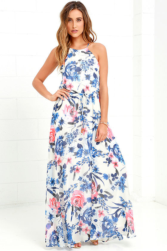 Ivory floral maxi dress