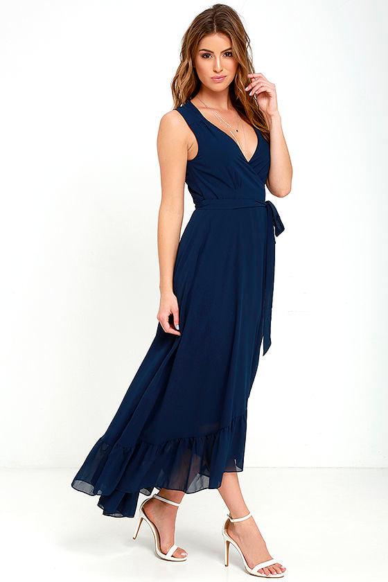 6e6043b34e44 Lovely Navy Blue Dress - Midi Dress - High-Low Dress - Wrap Dress ...