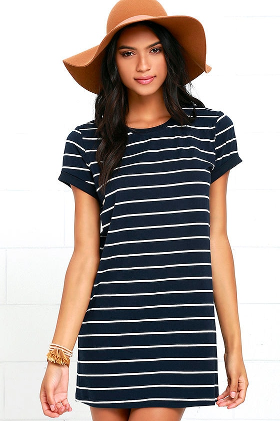 Chic Navy Blue Striped Dress - Shirt Dress - Shift Dress - $38.00