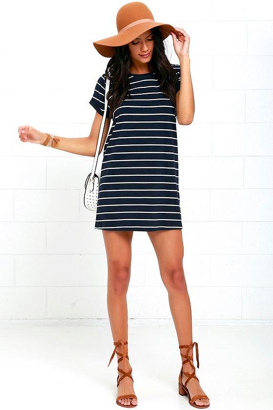 Cafe Society Navy Blue Striped Shirt Dress 2